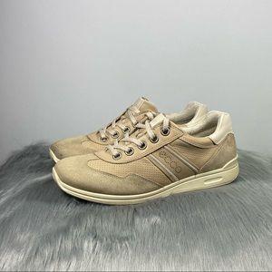 Ecco Leather Women Sneaker Beige Size 9